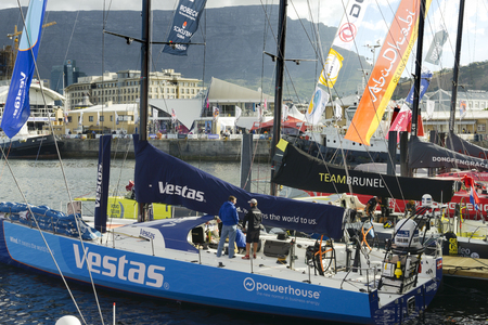 vestas: View of the racing boats taking part in the Volvo Ocean Race 2014-2015 with front view of the Vestas boat. November 15, 2014 - Cape Town, South Africa, Abu Dhabi Ocean Racing