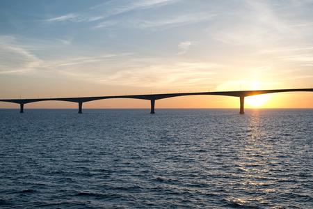princes street: Panoramic view of the Confederation Bridge over sunset sky, Northumberland Strait, Prince Edward Island, Canada