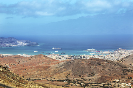Panoramic view of Mindelo City, Cape Verde Stok Fotoğraf