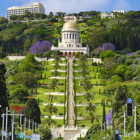 View of Bahai gardens and the Shrine of the Bab on mount Carmel, Haifa, Israel