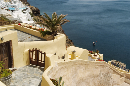 Panoramic view on the mediterranean sea.Traditional architecture in Oia, Santorini, Greece Stock Photo