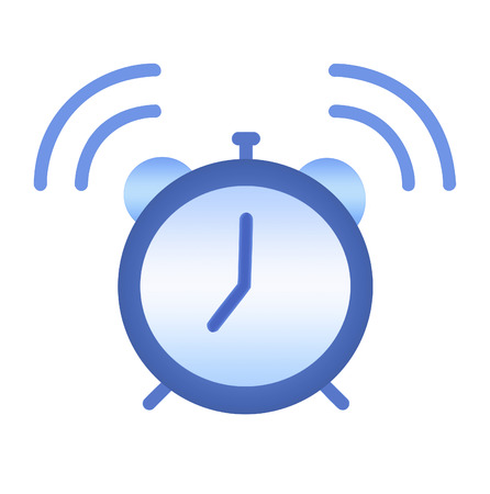 Illustration of an isolated over white background blue alarm clock, ringing at 7 oclock Stock Photo