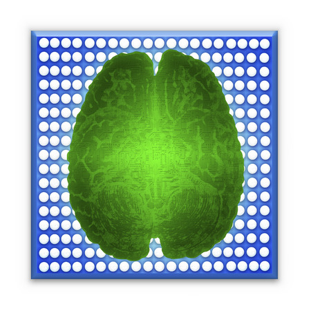 Artificial intelligence (AI) and High Tech Concept. Green glowing brain over blue microchip isolated on white background. Stock Photo