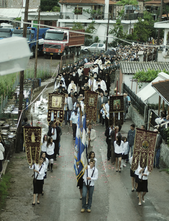 thousands: Faithful pilgrims honor memory of St. John the Russian. The festivities were attended by bishops, priests, local authorities, and thousands of believers from around the world. May 27, 2005 - Prokopi, Evia, Greece