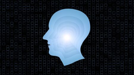 brain works: Brain works, Artificial intelligence (AI) and High Tech Concept. Human and conceptual cyberspace, smart artificial intelligence. Future science with modern technology.
