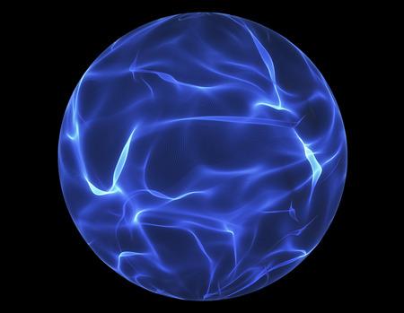 黒い背景に青い光るエネルギー ボール 写真素材