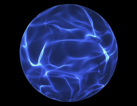 Blue glowing energy ball over black background