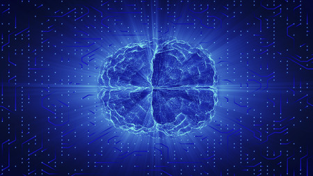 Blue glowing brain wired on neural surface or electronic conductors. Artificial intelligence (AI) and High Tech Concept.