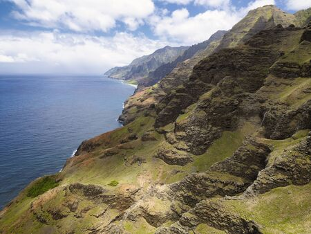 Aerial views of the Na Pali Coast, Kauai, Hawaii