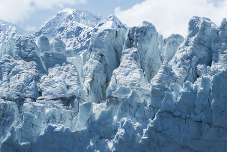 Close-up of a distinctive ice formation on the face of the Margerie Glacier