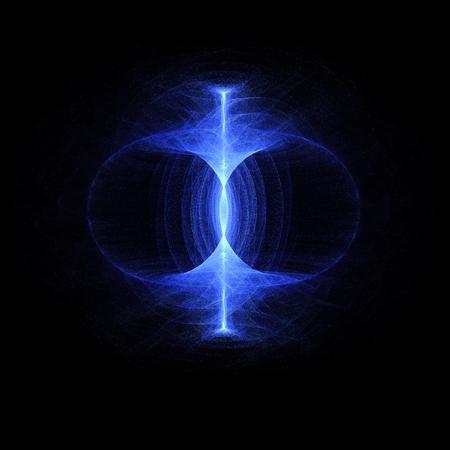 Nullpunkt-Energiefeld, nachhaltig hoher Teilchenenergiefluss durch einen Torus. Magnetfeld, Singularität, Gravitationswellen und Raumzeitkonzept. Standard-Bild