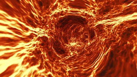 Going through abstract blazing lava tunnel or vortex