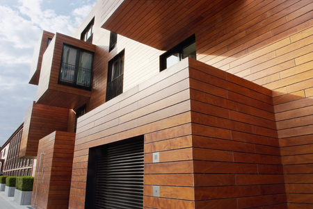 Modern contemporary wood sided building Editorial