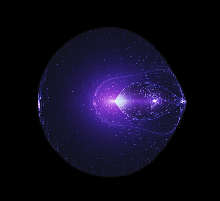 Light Beams Flowing Around The Edge Of A Circulal Shaped Futuristic Spaceship. Quantum Mechanics, Antimatter, Magnetic Field, Singularity, Gravitational Waves And Spacetime Concept Banque d'images - 103148469