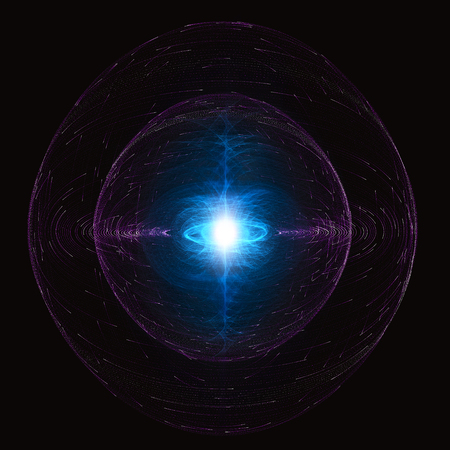 High Energy Particles Flow Inside A Sphere, Antigravity, Magnetic Field, Nuclear Fusion And Gravitational Waves Concept