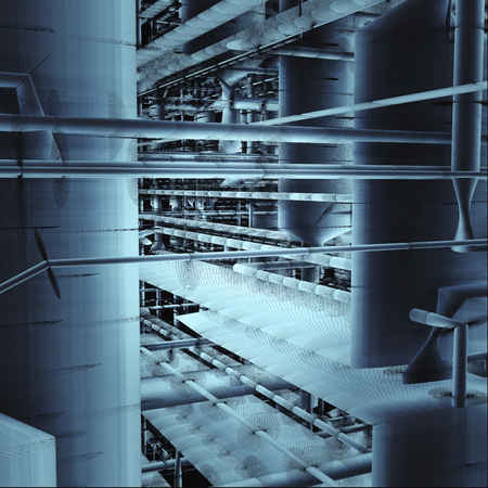 Pipes And Ventilation System Inside An Industrial Building Stock Photo