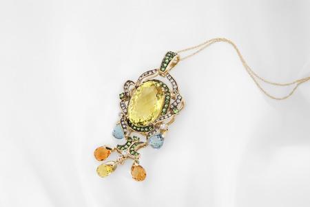 Gold Pendant With Lemon Quartz And Diamonds