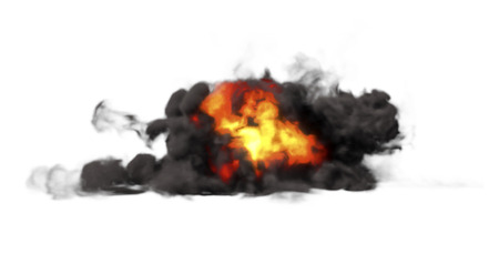 Ground Explosion With Thick, Heavy Smoke Isolated On White Background