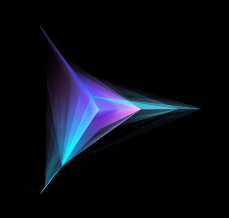 Abstract Glowing Geometric Shape On Black Background 写真素材
