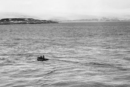 Research Boat Going Toward The Coastline Of Anvers Island, Antarctica, film photography