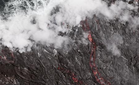 Lava Flow Into The Ocean, Hawaii