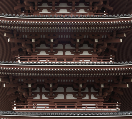 Pagoda Fragment In Authentic Style. Ancient Architecture Of Japan