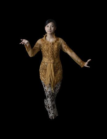 Indonesian Girl Performing Javanese Dance Wearing Traditional Dress