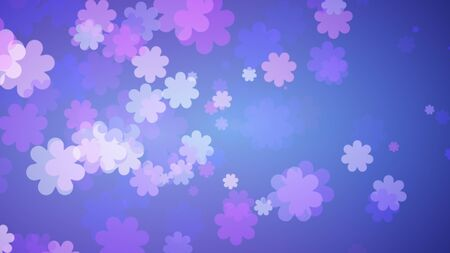 Soft Blue Floral Background. Purple Flowers Spreading Out On Blue Gradient . Spring Concept