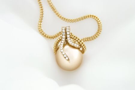 South Sea Golden Pearl Pendant With Diamonds