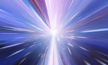 Volando a través del túnel del agujero de gusano o vórtice de energía abstracta. Singularidad, ondas gravitacionales y concepto de espacio-tiempo