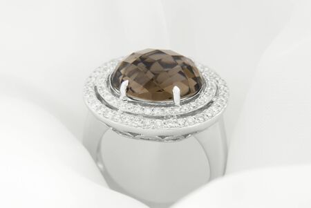 White Gold Ring With Smokey Topaz And Diamonds On Soft White Background