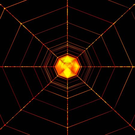 Orange Glowing Abstract Spider Net Isolated On Black. Halloween Background Stok Fotoğraf
