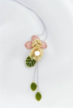 Delicate Floral Chiffon Pendant With Akoya Pearl And Gold