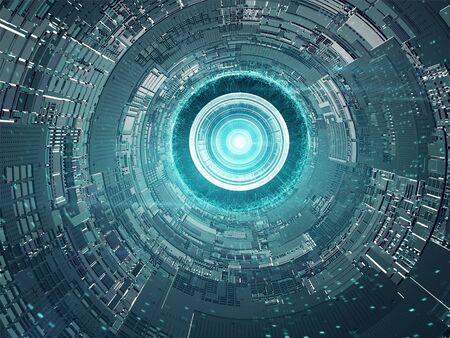 Kapseltrennung von der Raumstation. Futuristisches Konzeptdesign Standard-Bild