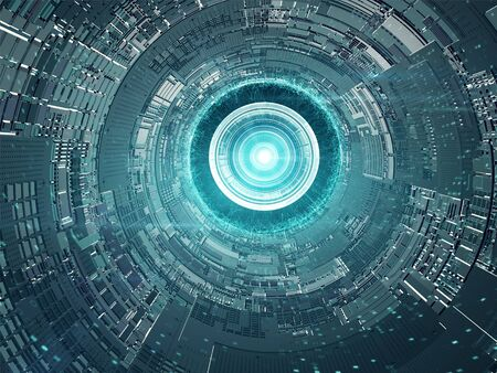 Separazione della capsula dalla stazione spaziale. Concept Design futuristico Archivio Fotografico