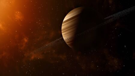 Space Concept Background With Solar Wind, Star  Clusters And Gas Giant With Ring System  版權商用圖片