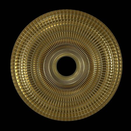 Gold Gridded Torus Isolated On Black Background