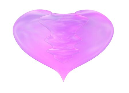 Fused Glass Decorative Heart Isolated On White Background