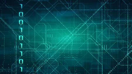 Glowing Circuit Network. Big Data Concept Banco de Imagens