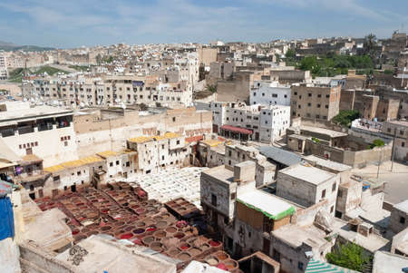 Aerial Panoramic View Of A Tannery And The Old Town Of Fes El Bali In Morocco