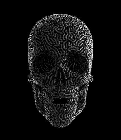 Metalwork Of Carved Human Skull Imagens