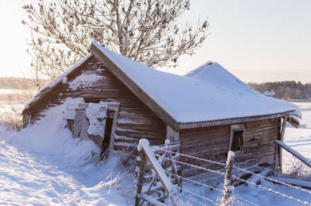 old barn in winter: old barn in winter