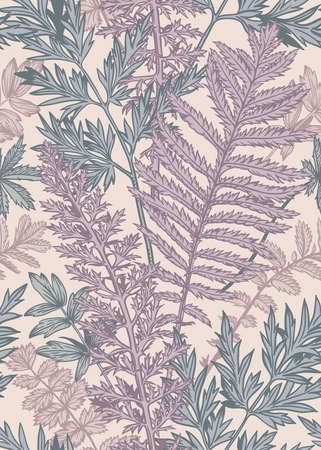 Vertical seamless pattern with leaves and plants. Vector botanical illustration. Lilac, blue, pink. Vecteurs