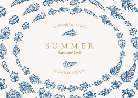 Botanical oval frame with leaves. Summer horizontal card. Vector illustration. Blue and golden.