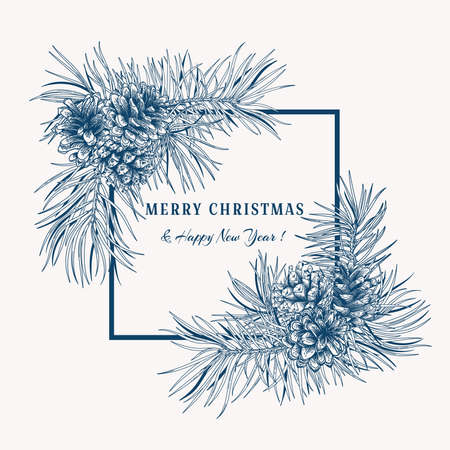 Christmas botanical card. Christmas blue and white frame. Vector illustration with Pine, cones.  일러스트