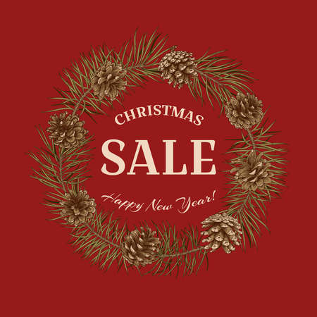 Christmas sale. Vector banner. Christmas red background. Vector illustration with Pine, cones.
