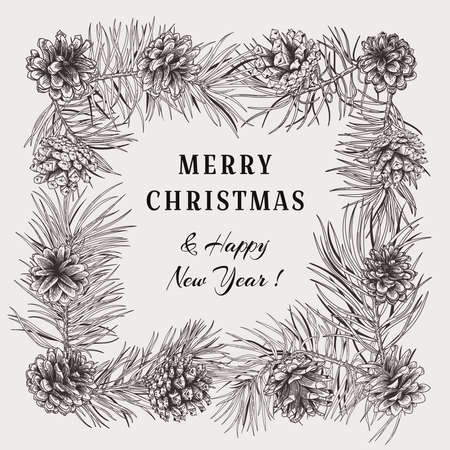 Christmas holiday frame with pine branches and cones.Vector illustration. Black and white.