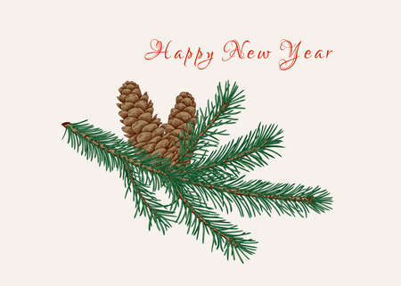 New year card with fir branch and cones. Ð¡hristmas illustration. Botanical vector. Colorful. Vetores