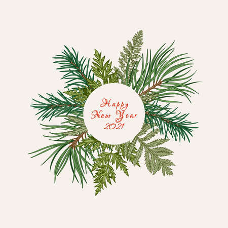 Botanical round frame with fir and pine branches, fern and leaves. Ð¡hristmas illustration. Vector holiday card. Greenery.