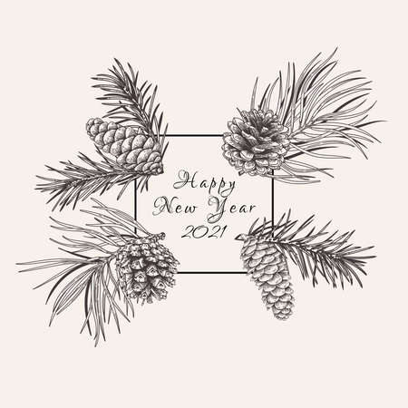 Christmas square frame with fir and pine branches and cones. Vector botanical illustration. Black and white. Vector Illustration